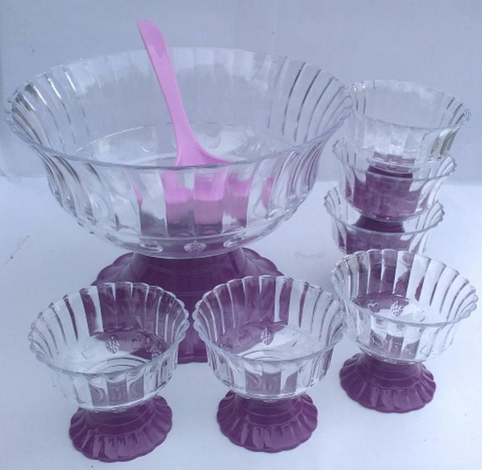 Cocktail Set Mangkok Buah 6 gelas KRISTAL.sendok sup.Set Mangkuk sup