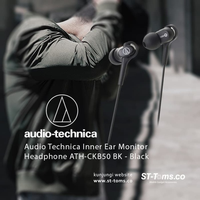 harga Audio technica inner ear monitor headphone ath-ckb50 bk - black Tokopedia.com