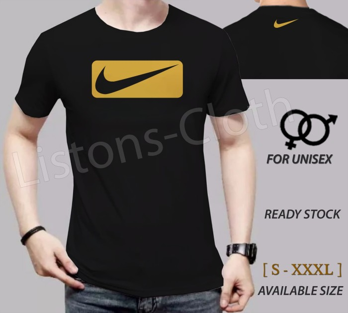 harga Kaos distro nike logo hitam sablon gold baju sport tshirt branded Tokopedia.com