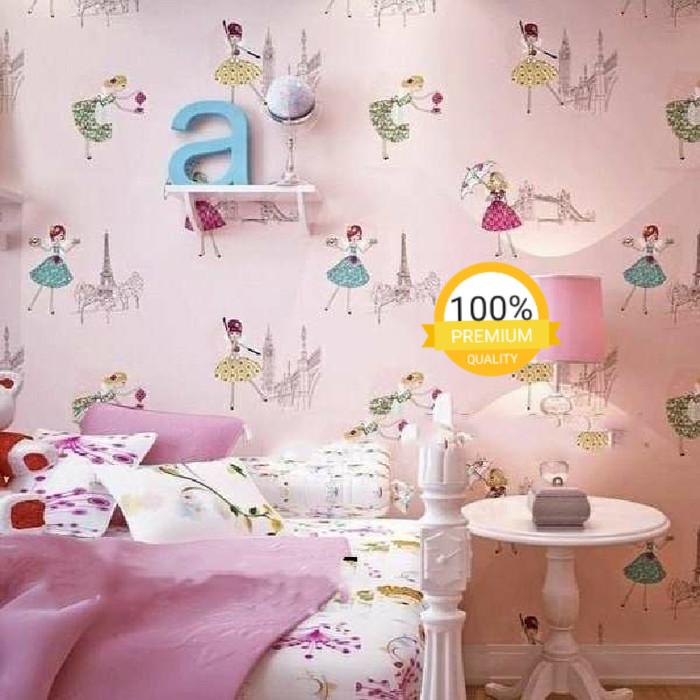 jual grosir murah -wallpaper sticker dinding pink girl umbrella