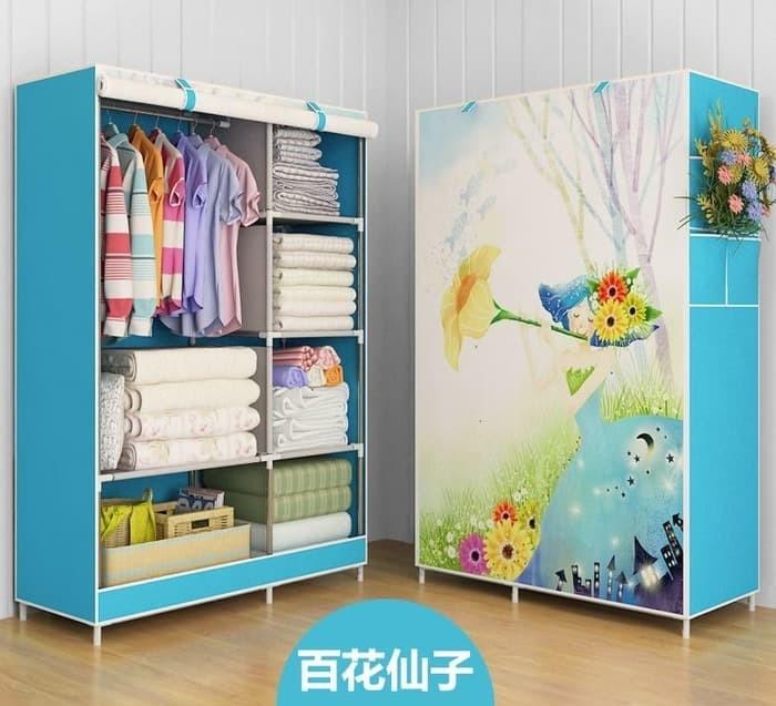 harga [murah] multifunction wardrobe - lemari pakaian motif bunga Tokopedia.com