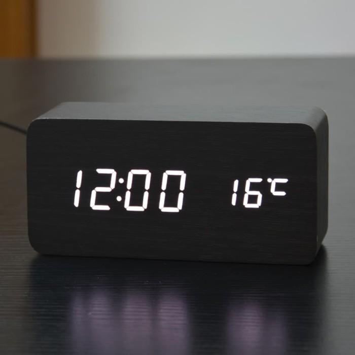 Jam Meja Kayu LED Wood Clock with Alarm + Temperature Digital Dekorasi -  Hitam 011599b5ad