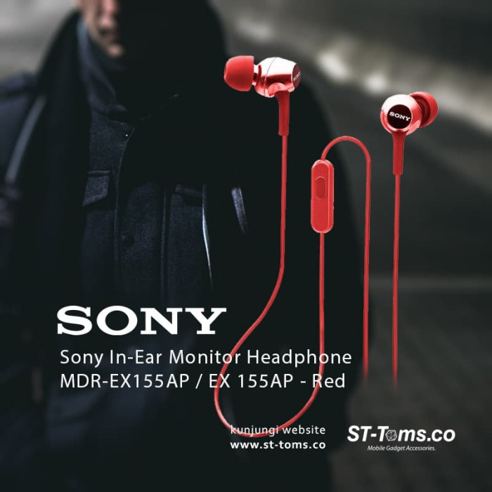 harga Sony in-ear monitor headphone mdr-ex155ap / ex 155ap - red Tokopedia.com