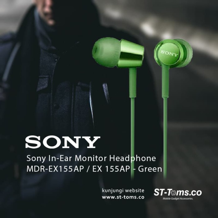 harga Sony mdr ex155ap / ex155ap / ex155 ap in-ear monitor headphone green Tokopedia.com