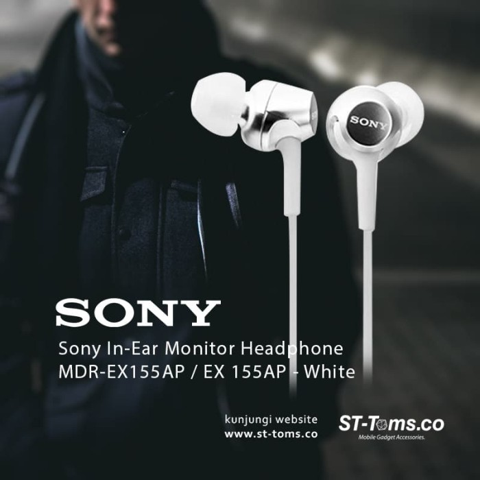 harga Sony mdr ex155ap / ex155ap / ex155 ap in-ear monitor headphone white Tokopedia.com