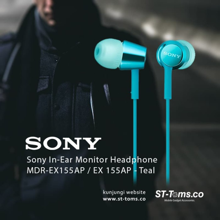 harga Sony mdr ex155ap / ex155ap / ex155 ap in-ear monitor headphone teal Tokopedia.com