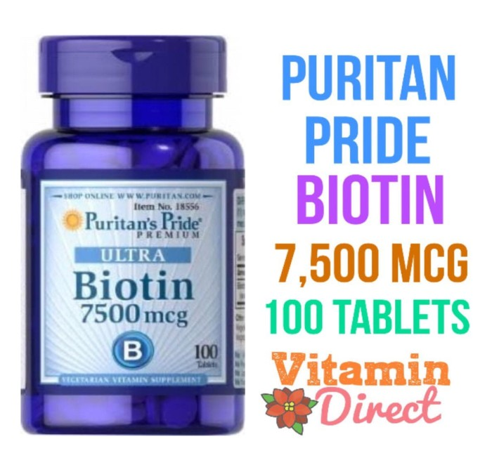 Puritan Pride Ultra Biotin 7500 mcg 100 Tablets