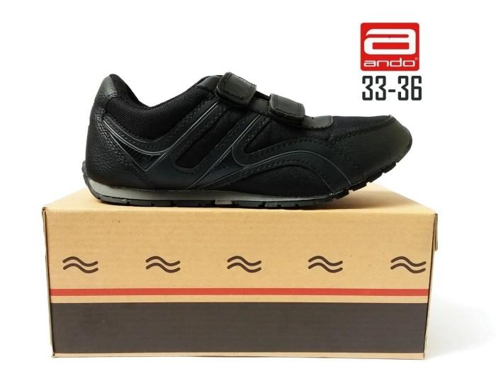 harga Sepatu ando huper velcro sepatu sekolah anak hitam kets sd smp Tokopedia.com