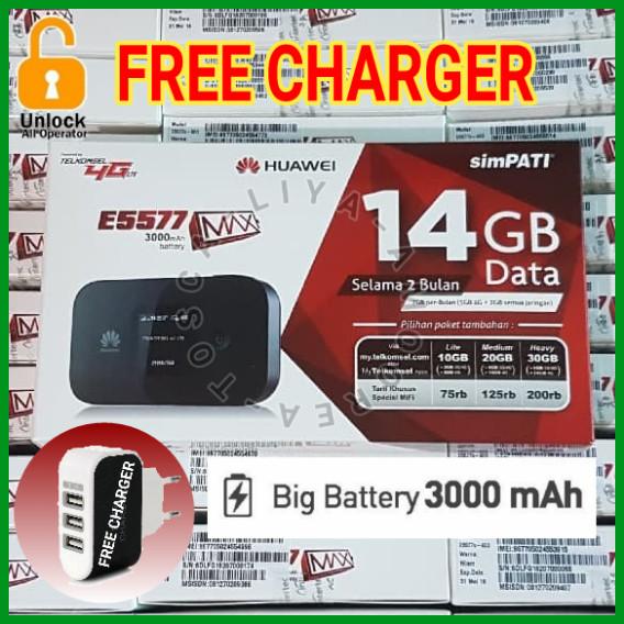 harga Mifi modem wifi router 4g huawei e5577 max unlock gsm - free tsel 14gb Tokopedia.com