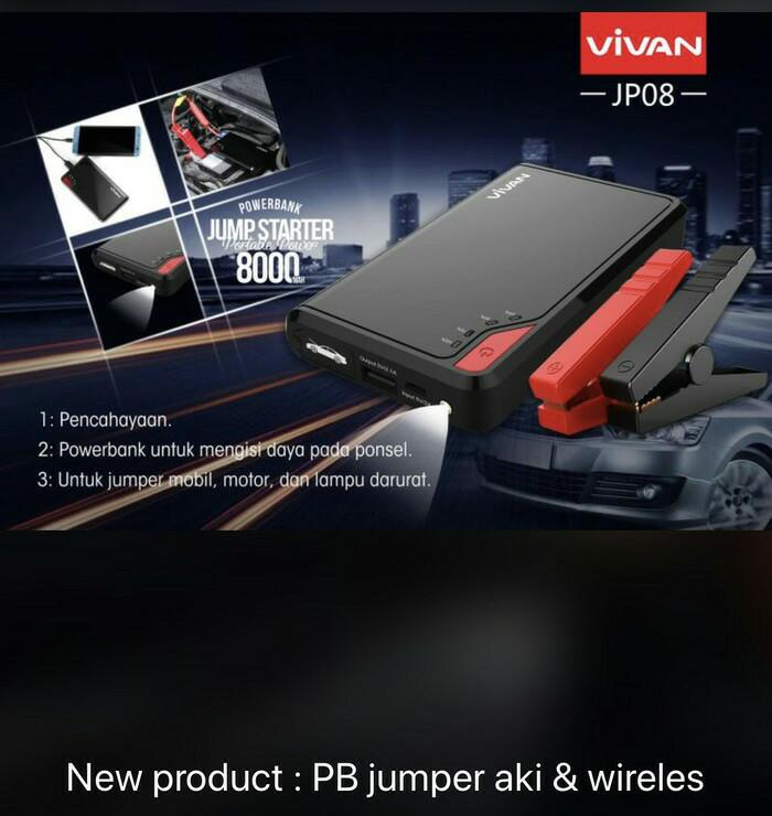Vivan JP08 8000mAh Jump Starter Power Bank Black Promo New Model - Hitam