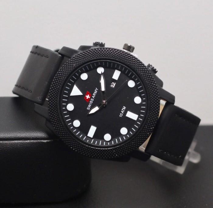 harga Jam tangan pria   cowok swiss army bulat sk2030 leather black  Tokopedia.com 51add2ec55