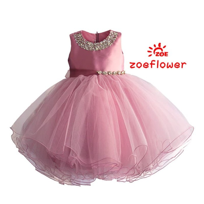 harga Dress anak perempuan : zoe flower lux pink dress Tokopedia.com