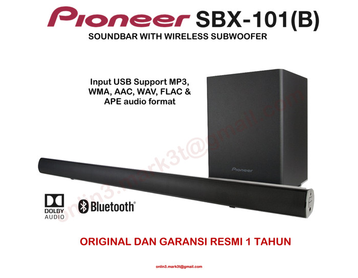 harga Pioneer sbx101 sbx 101 soundbar with wireless subwoofer and usb input Tokopedia.com
