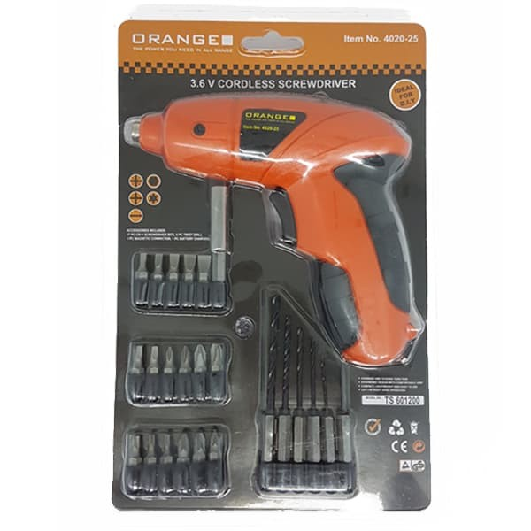 orange mesin bor portable - mesin obeng baterai - cordless drill