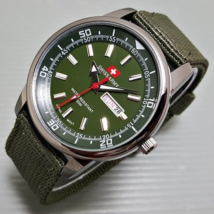 Jam Tangan Pria Swiss Army Daydate A70 Kanvas Green