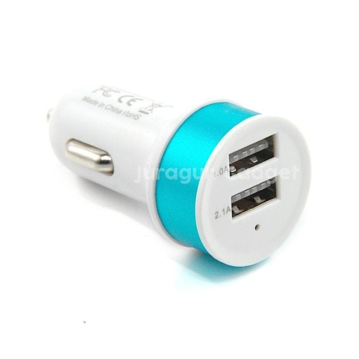 promo Car Charger mobil Bulat 2 USB 2.1A full Colours