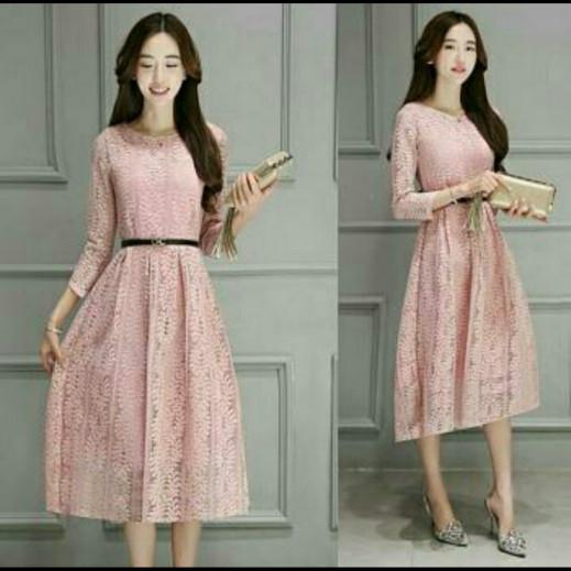 harga Dress midi/semi longdress/gaun brukat/brokat/lace cantik simple Tokopedia.com