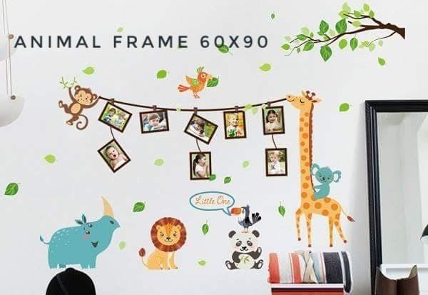 jual wall sticker 60x90 animal frame - sabrina wallstiker | tokopedia