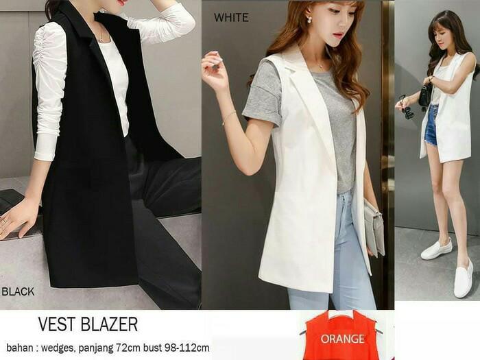 Aquinn Labelle Blazer Long Sleeve Squall Hitam Cream Page 4 Source · Blazer korea sleeveless panjang