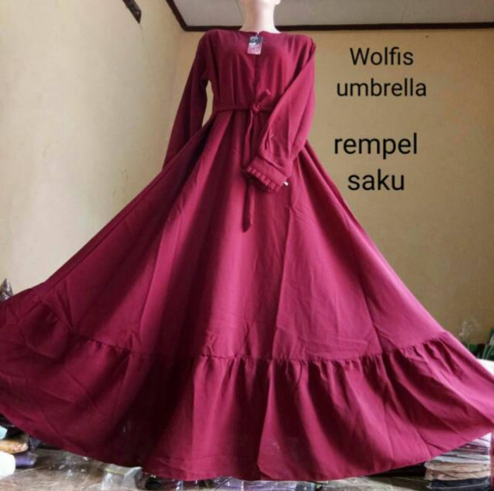 Jual Gamis Wolfis Umbrella Polos Rempel Toserba 72 Online Tokopedia