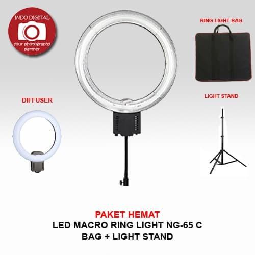 Paket hemat ring light ng-65c (stand + tas)