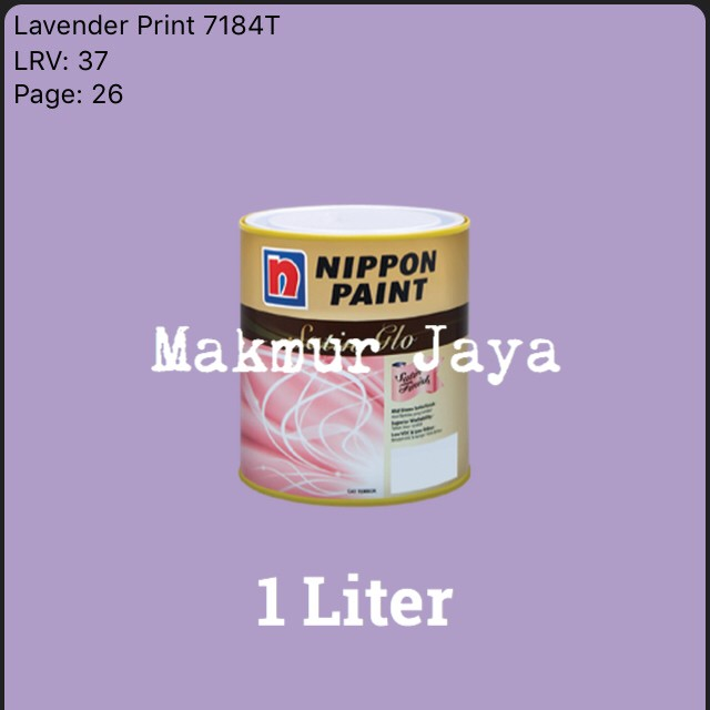 harga Satin glo lavender print 1l nippon cat tembok interior satinglo Tokopedia.com