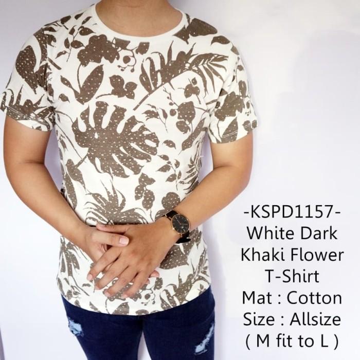 Baju cowok lengan pendek casual white dark khaki flower t-shirt-1157