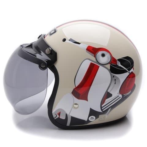 [COUPLE HELM DEWASA] WTO Helmet Retro Bogo - Vespa - Krem + Hitam Doff 1
