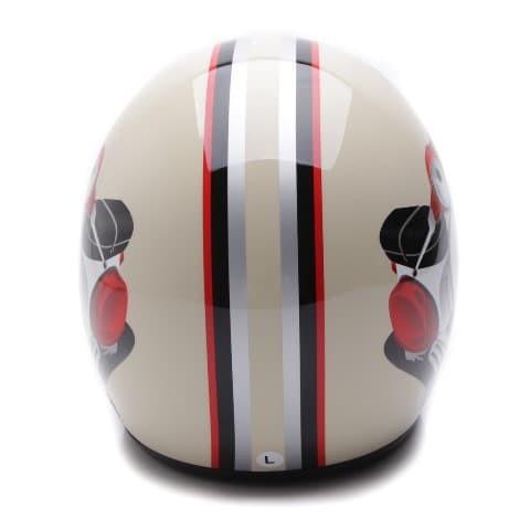 [COUPLE HELM DEWASA] WTO Helmet Retro Bogo - Vespa - Krem + Hitam Doff 3