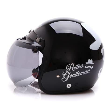 [COUPLE HELM DEWASA] WTO Helmet Retro Bogo - Gentleman - Hitam + Lady 1