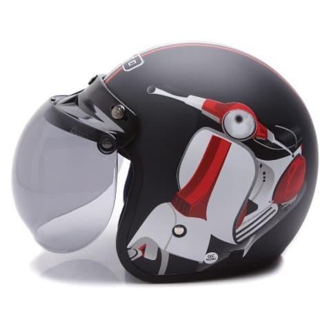 [COUPLE HELM DEWASA] WTO Helmet Retro Bogo - Vespa - Krem + Hitam Doff 2