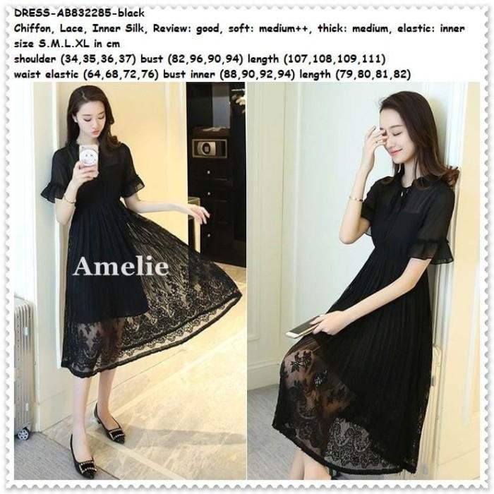 harga Midi dress gaun pesta brukat lace wanita baju korea import black hitam .