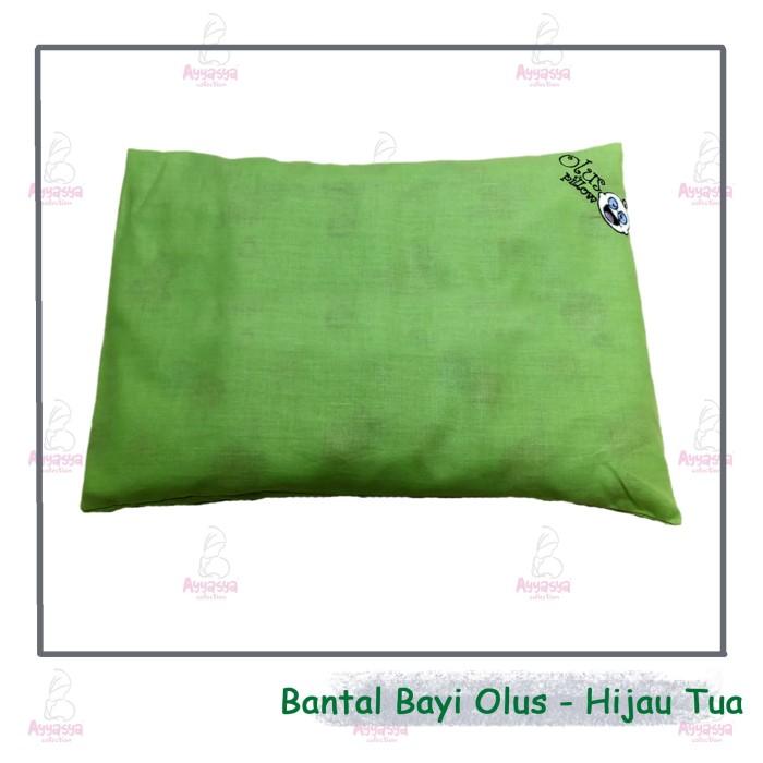 Bantal bayi anti peyang isi kulit kacang hijau OLUS hijau tua