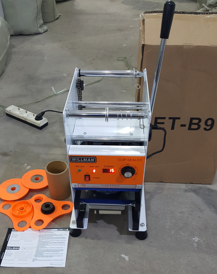 ... harga Cup sealer mesin press gelas semi-auto et-b7 digital counter + roll