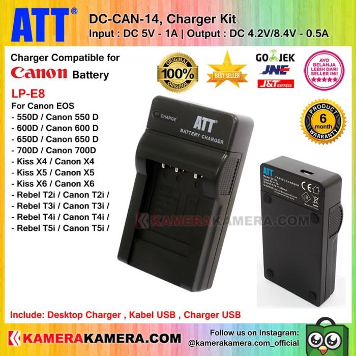 ATT Charger for Canon EOS 550D/600D/650D/700D - LP-E8 Batt (DC-CAN-14)