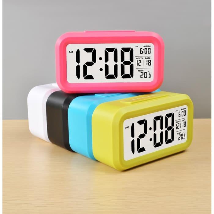 JAM MEJA PINTAR - DIGITAL LCD DESKTOP SMART CLOCK JP9901 ALARM WAKER - Hitam