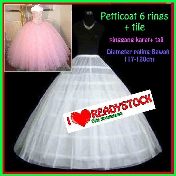 harga Pt.6k+tile petticoat pengembang gaun pengantin wedding 6 hoops / 6 kaw Tokopedia.com