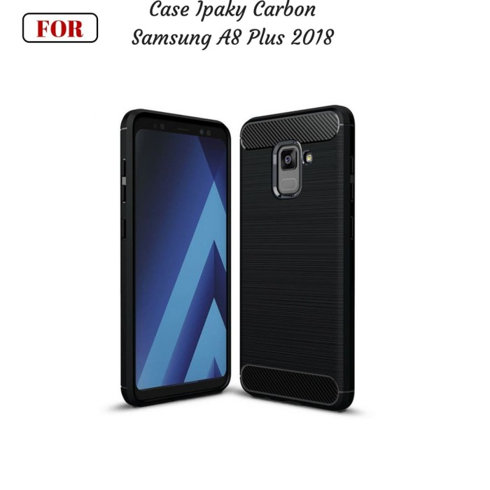 Samsung a8+ 2018 a8 plus case ipaky carbon soft series - hitam