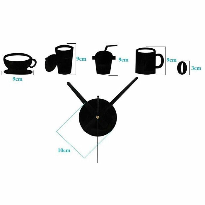 Jual Jam Dinding Besar Akrilik Mug Cangkir Kopi Cafe Coffee DIY Wall ... 19fcb79b98