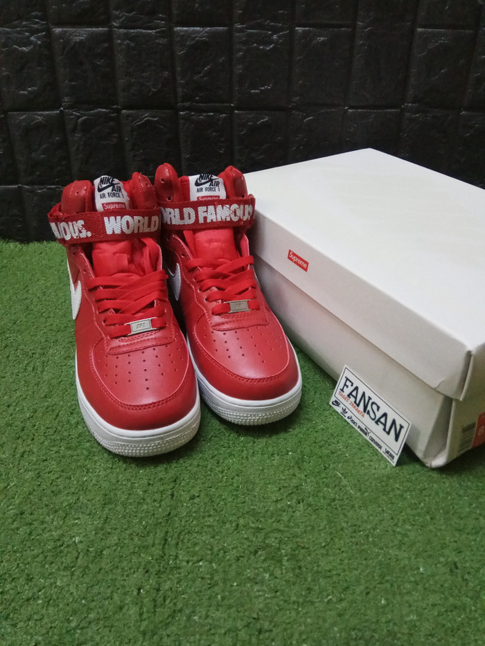 Jakarta Merah43 X Supreme Nike Quality Mid Premium High 1 Air Red Force White Fansan Sepatu Dki shoesTokopedia Jual 80nwPOk