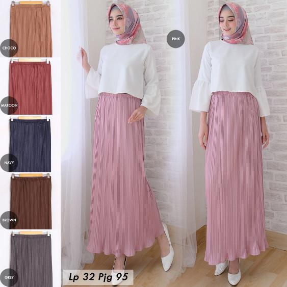 Basic skirt pleated, rok panjang plisket. Fashion .