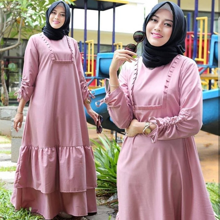Jual Sahira Dress Maxy Pink Pakaian Wanita Hijab Gamis Modern
