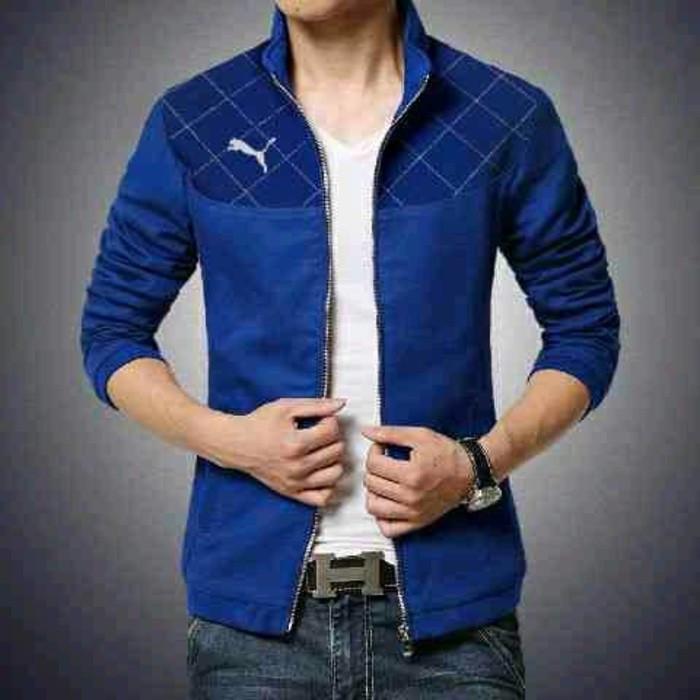 Jaket puma pria navy jacket outer outerwear simpel casual santai