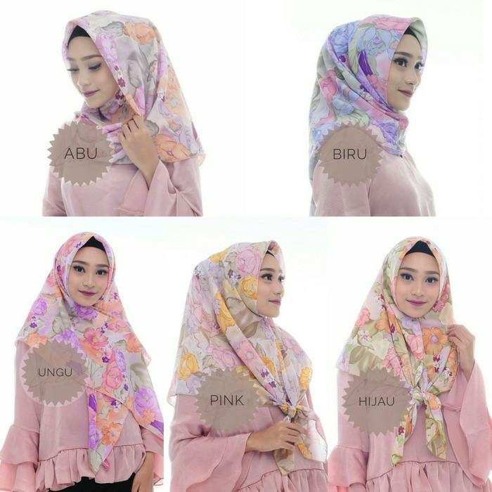 Hijab jilbab kerudung segi empat fine motif bunga cantik murah sf07