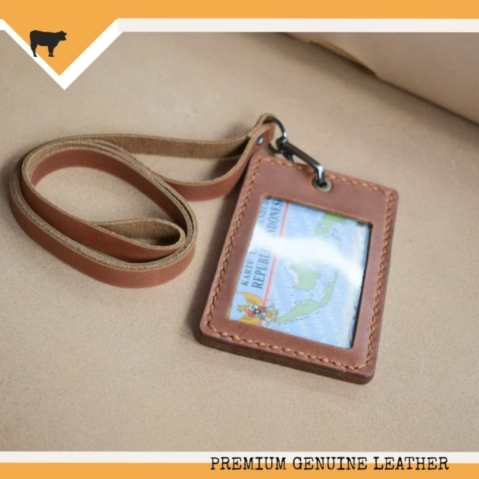 harga Gantungan name tag id card kulit asli handmade organizer card holder Tokopedia.com