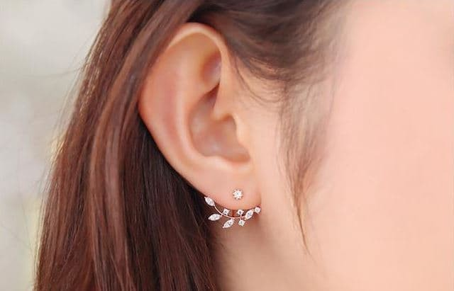 Foto Produk anting fashion korea bentuk cabang daun berlian zircon earrings jan112 - silver dari Oila