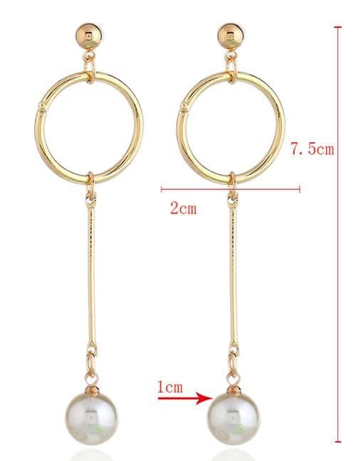 LRC Anting Tusuk Elegant Gold Color Round Shape Decorated E42140