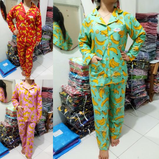 Foto Produk Baju Tidur Piyama PP Katun Jepang Banana - Merah Muda dari Elvindo_shop