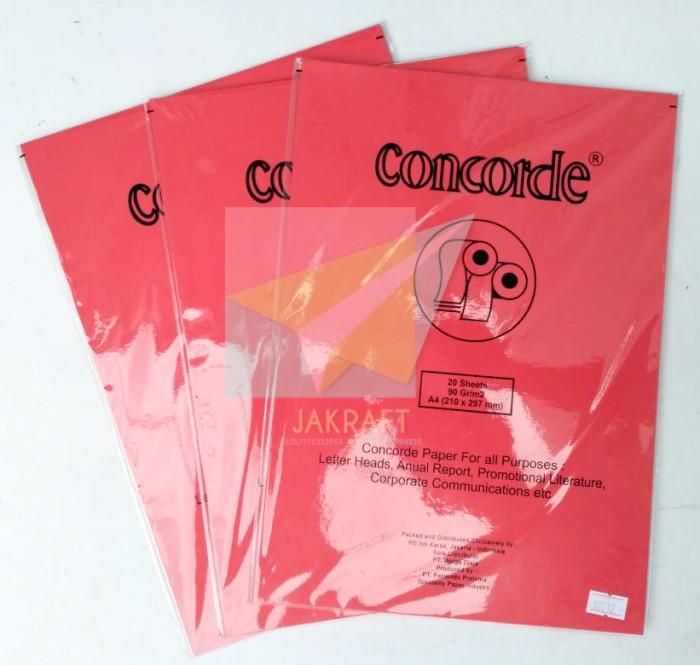 Kertas Concorde 90 Gr Gram Gsm 80212 Merah Red A4 isi 20 .