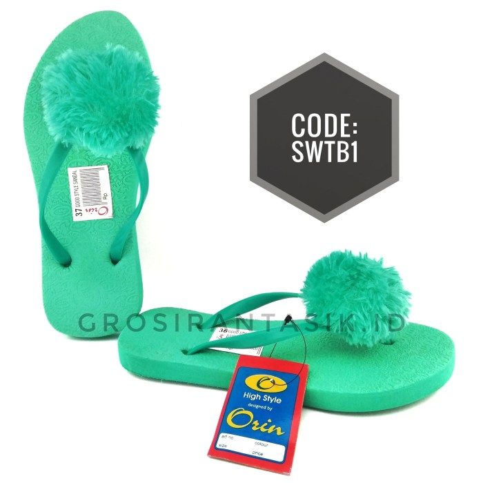 Sandal Flat Pompom ORIN Hijau Tosca / Sandal Jepit Bulu/ Teplek